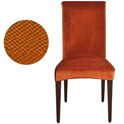 Sunbu 2 Pcs Stretch Pinstripe Short Dining Room Chair Cover Slipcovers Brown