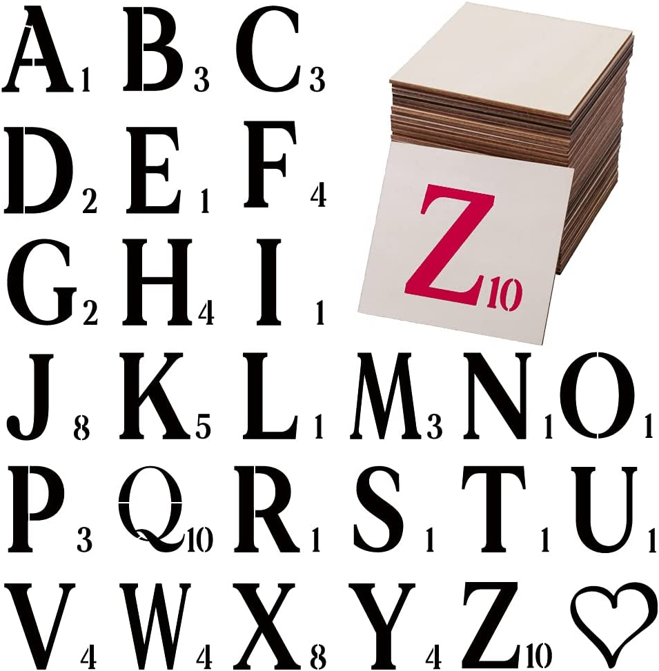 4 Inch Letter Stencils with 48Pcs Unfinished Wood Square, Blank Wood Slices 27pcs Painting Stencils Templates for Painting On Wood,Canvas, Fabric, Wall,DIY Scrabble Letters