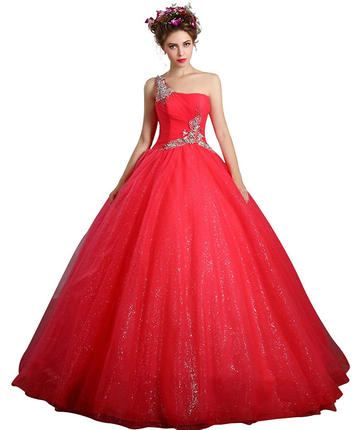 Vimans? Long Fashion One Shoulder Beaded Puffy Bridal Evening Ball Gowns