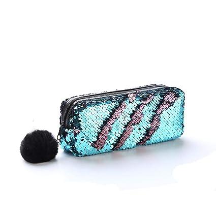 TXIN - Bolsa de maquillaje con lentejuelas multiusos con ...