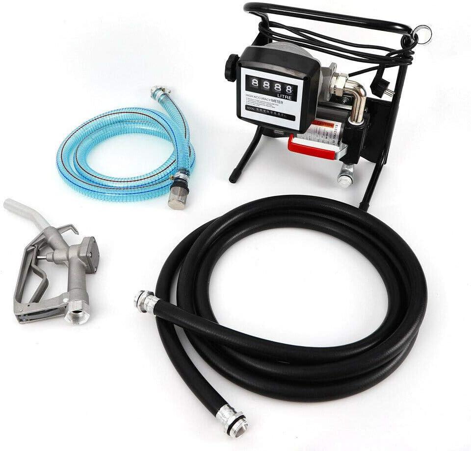 Anciun Pompe /à diesel Pompe /à mazout auto-amor/çante 40 L//min Pompe /à carburant avec tuyau de distribution et distributeur automatique 375 W