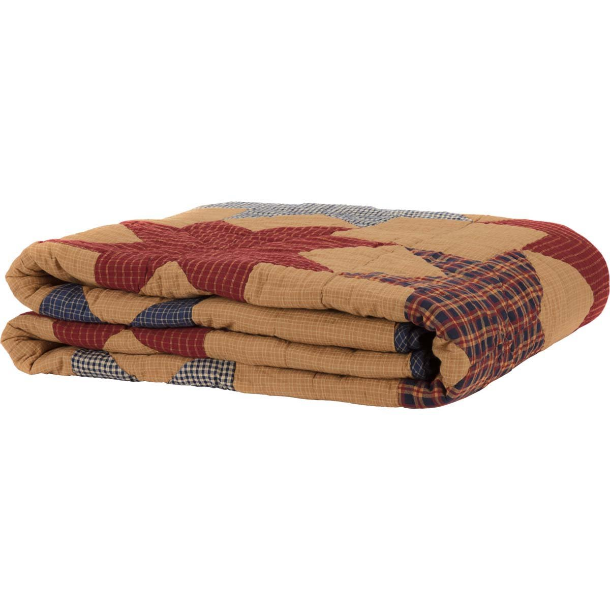 King 40496 VHC Brands Classic Country Primitive Bedding-Kindred Star Tan Quilt