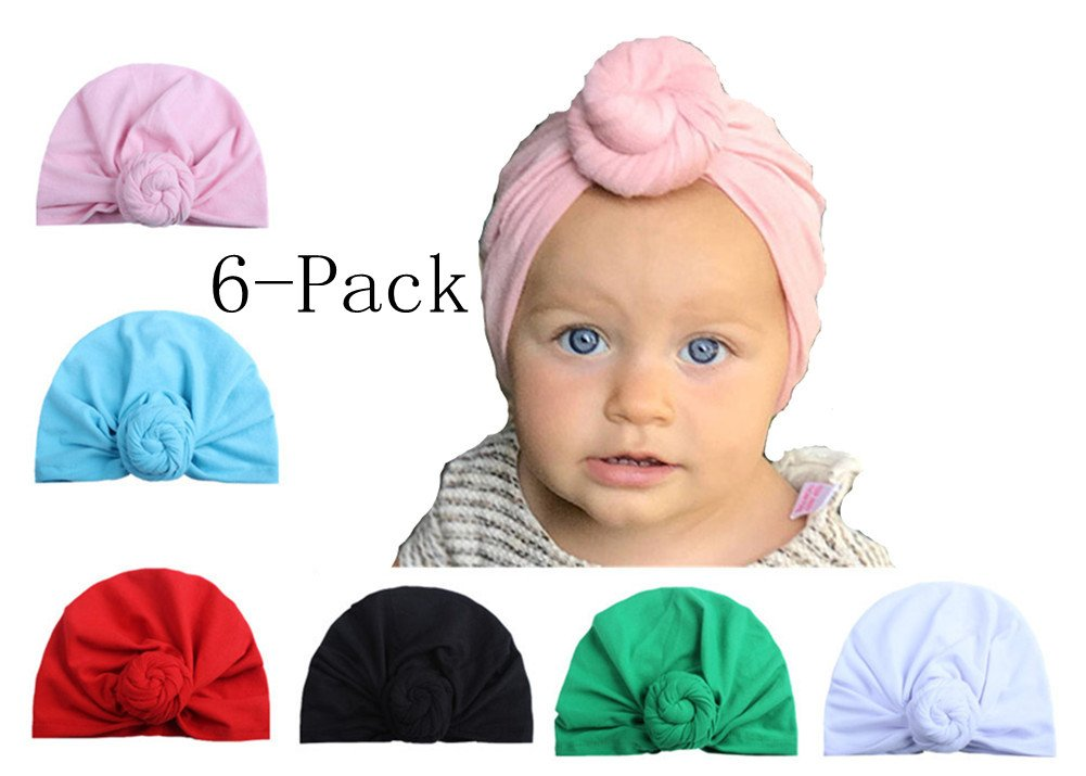 6 Pcs Baby Girl Hats Headband Soft Cute Turban Knot Caps for Toddler Kids