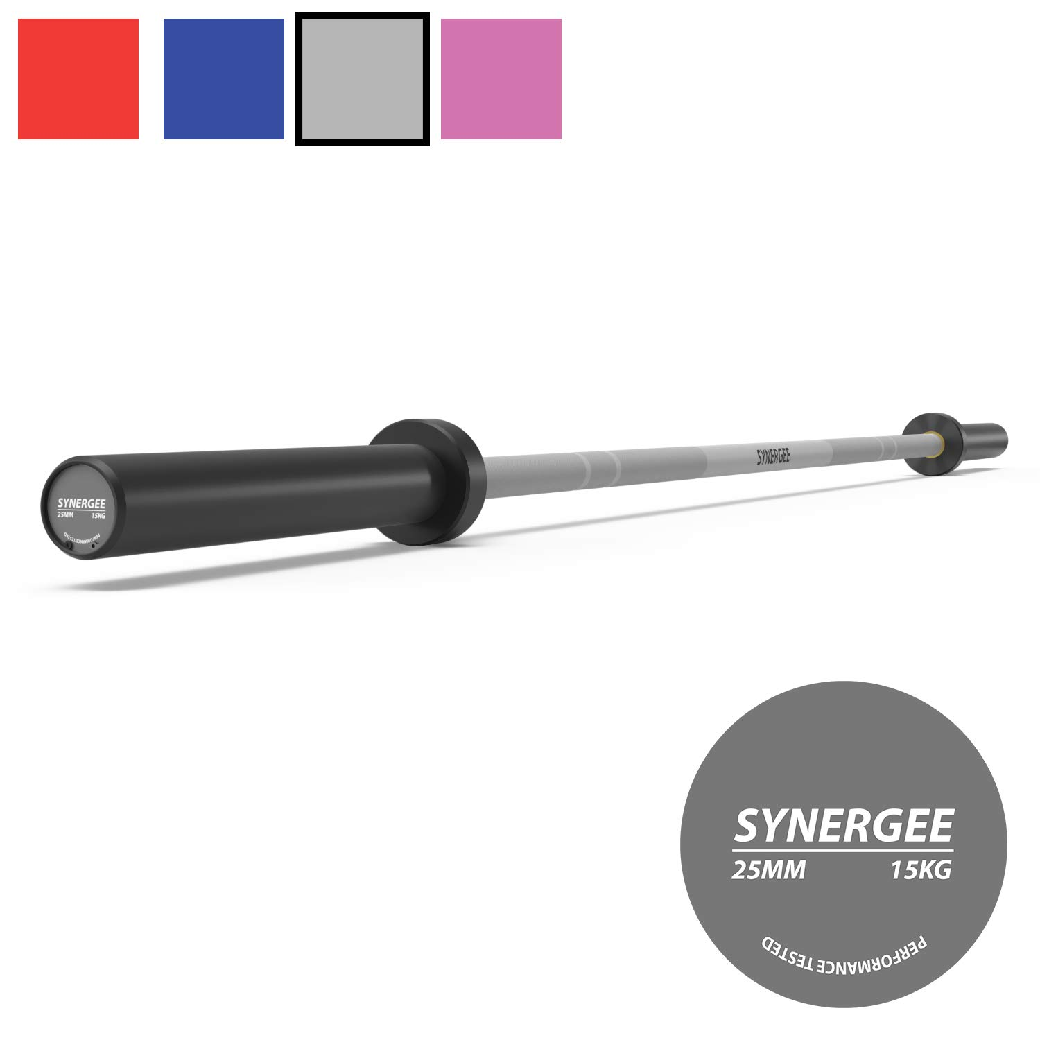 Rated 1500lbs for Weightlifting Pink Grey Blue Red Synergee Games 15kg and 20kg Colored Cerakote Barbells Powerlifting and Crossfit
