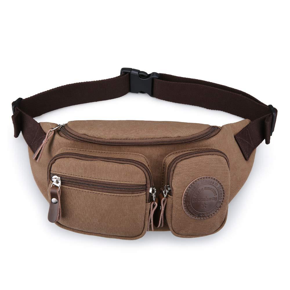 2e07301ae531 Muzee Mens Canvas Waist Pack Running Sling Backpack Crossbody Bag Fanny  Packs (Light coffee)