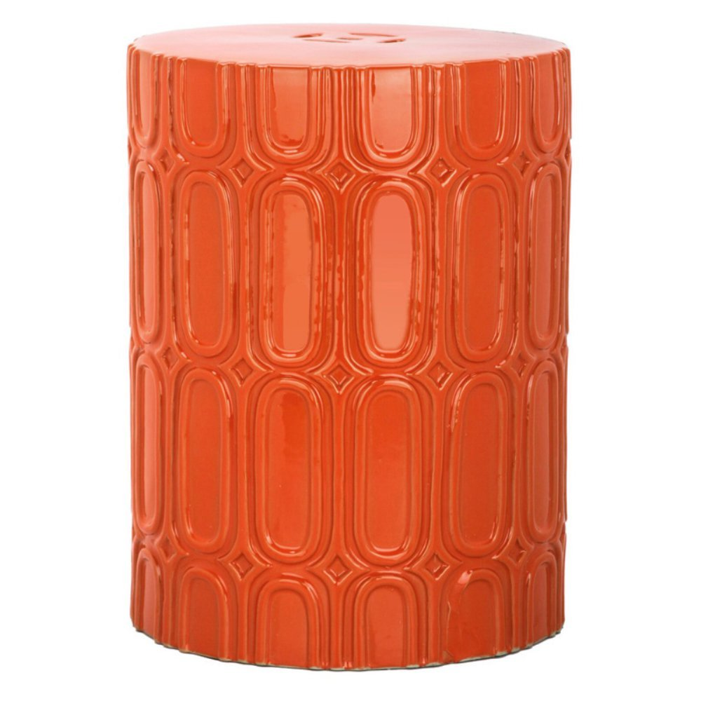 Safavieh Castle Gardens Collection Melody Orange Glazed Ceramic Garden Stool