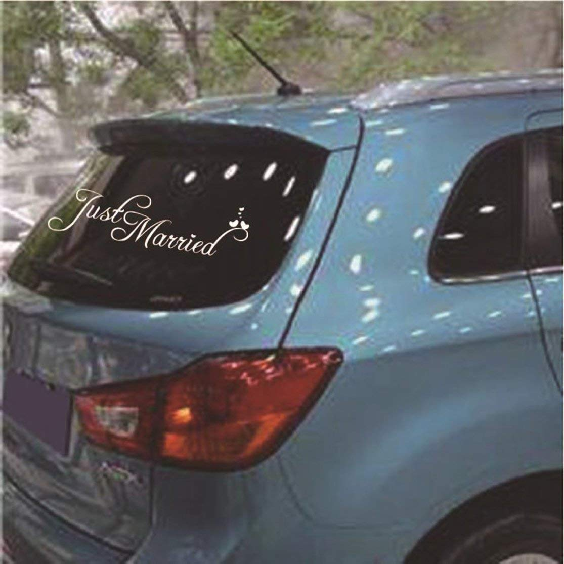 LouiseEvel215 Just Married Sign Hochzeitstag Auto Aufkleber Dekorationen Fenster Banner Aufkleber PVC