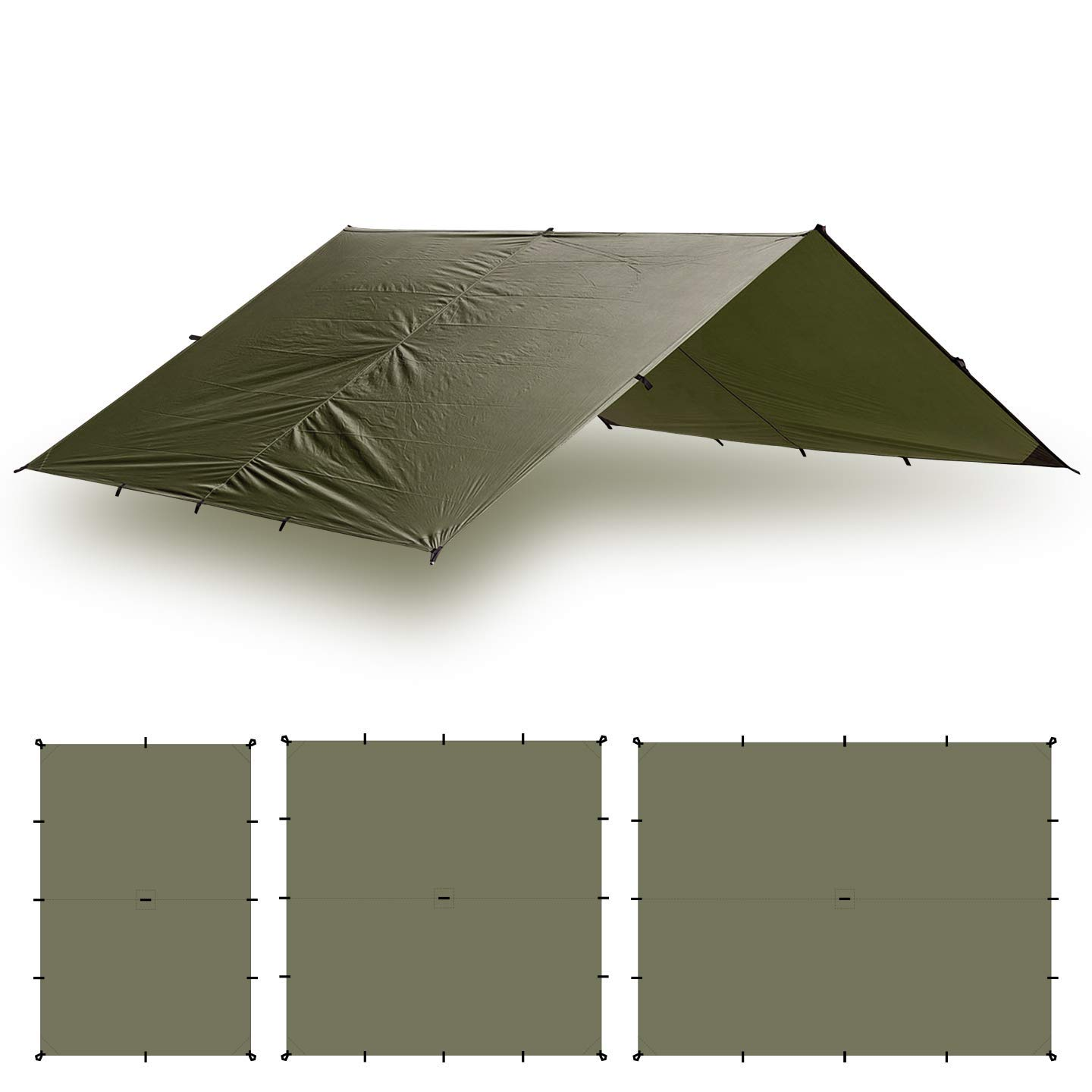 Aqua Quest Guide Tarp - 100% Waterproof Ultralight Ripstop SIL Nylon Backpacking Rain Fly - 10x10 Olive Drab by Aqua Quest