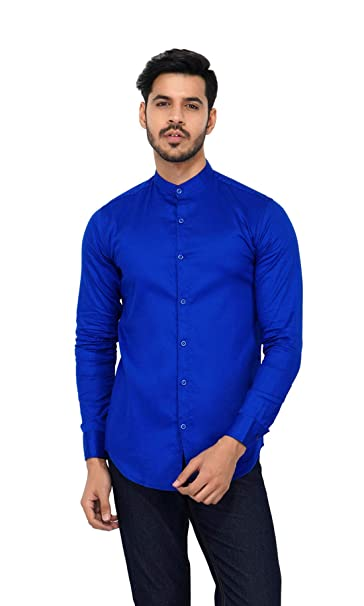 432e31a44 MISHIKACREATIONS Men's Cotton Chinese Collar Solid Casual Full Sleeve Shirt  (Small_Royal Blue)