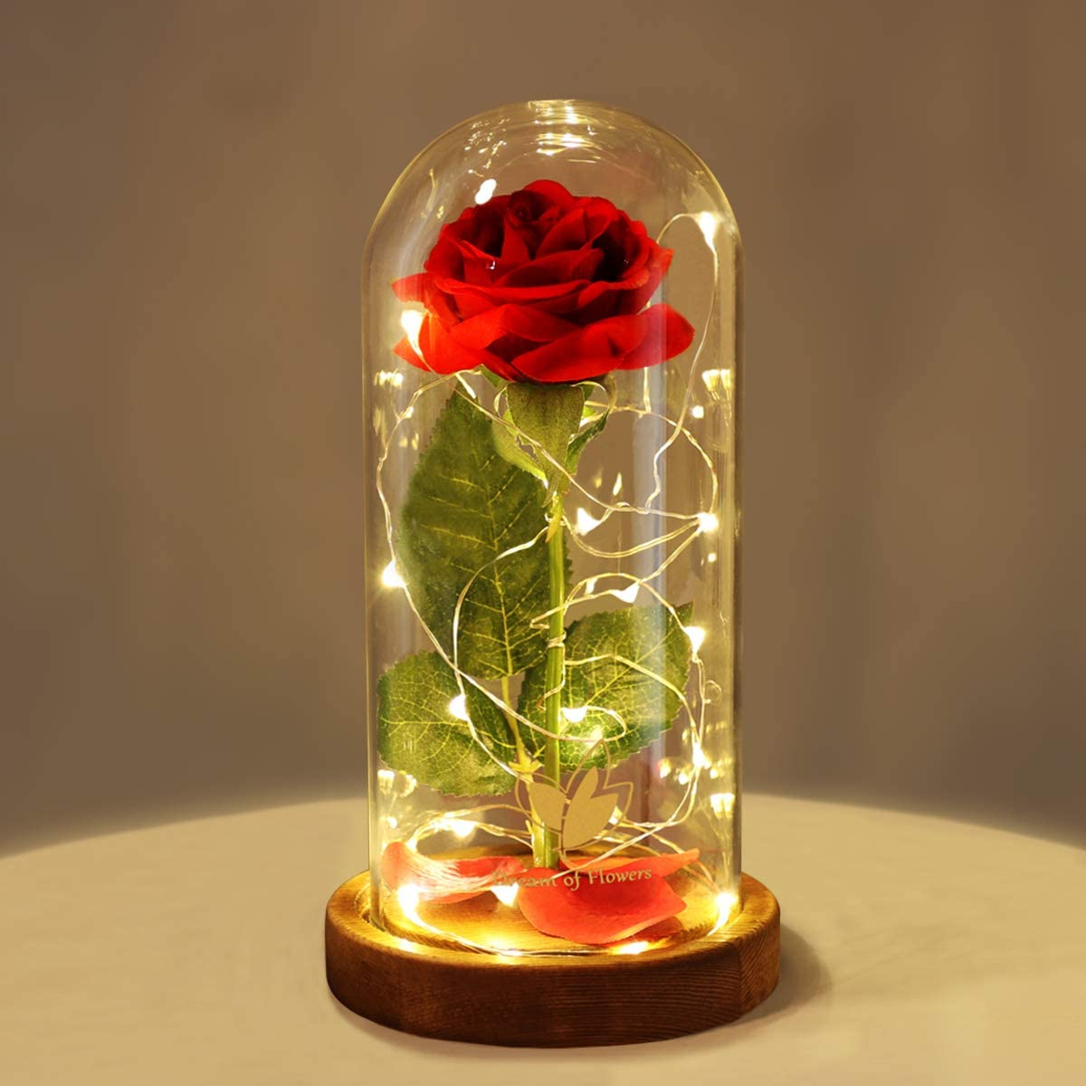 Amazon Com Dream Of Flowers Beauty And The Beast Red Rose In Glass Dome With Fairy Light String Valentine Rose Gift For Her Gifts For Girlfriend Mother S Day Gifts Home Kitchen