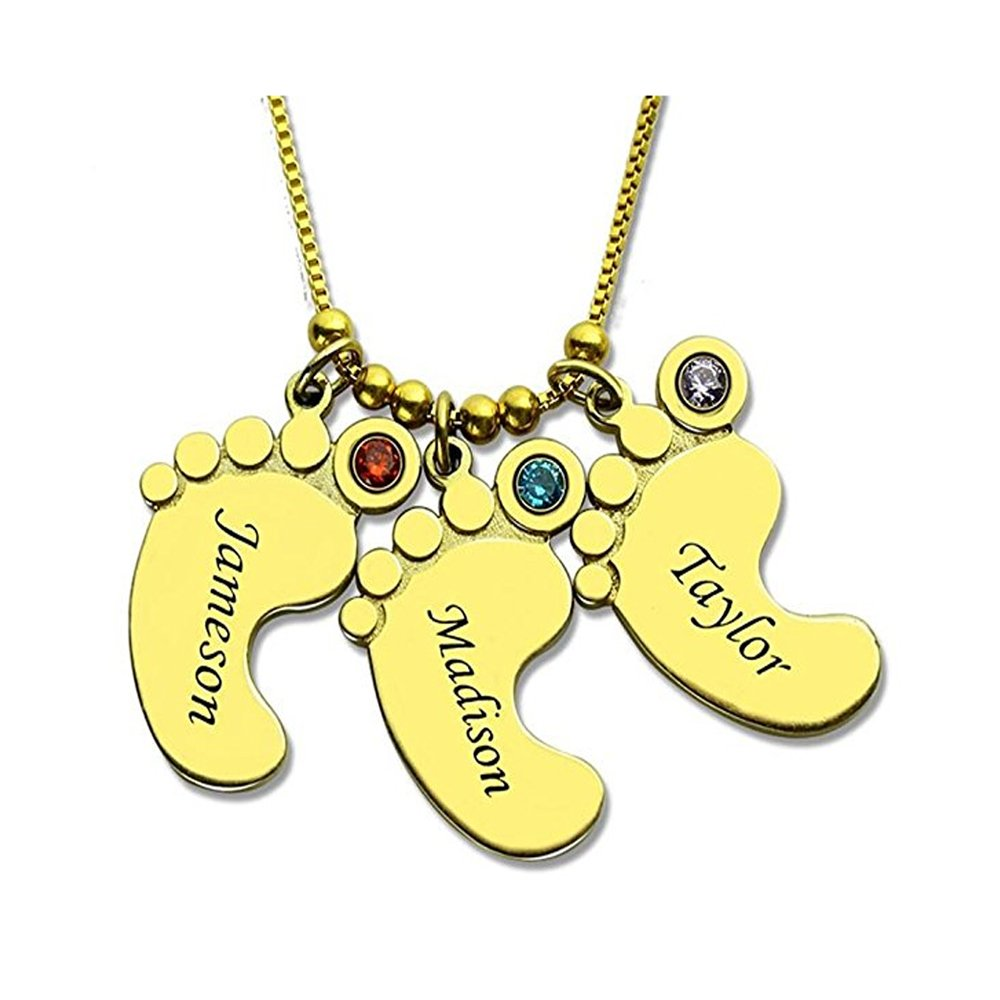 Customized Baby Feet Charm Necklace Great for Birthdays Jack-F Personalized Engrave Mothers Necklace or Christmas Mothers Day