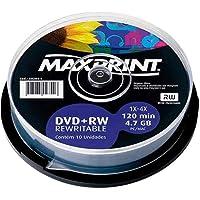 Mídia Dvd+Rw Regravável Maxprint 4.7 Gb - 120 Min - 4X - Pino C/10 Unidades