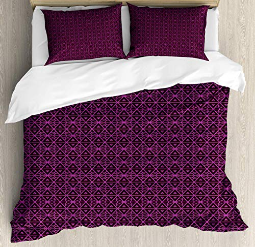 (Lattice Bedding Duvet Cover Set, Abstract Symmetric Pattern with Geometric Elements in Pink Color Shade, Decorative 3 Piece Bedding Set with 2 Pillow Shams, Dark Brown and Magenta)