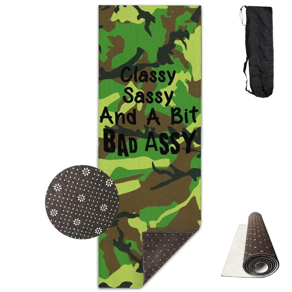 Classy Sassy and A Bit Bad Assy Yoga Mat Towel for Bikram Hot Yoga, Yoga and Pilates, Paddle Board Yoga, Sports, Exercise, Fitness Towel