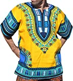 RaanPahMuang Brand Unisex Bright Colour Cotton Africa Dashiki Shirt Plain Front, X-Large, Amber Yellow