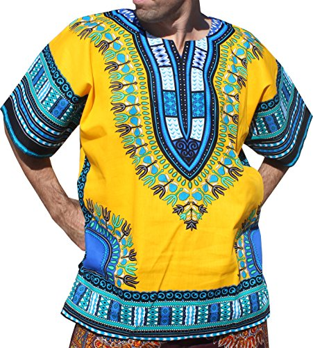 RaanPahMuang Brand Unisex Bright Colour Cotton Africa Dashiki Shirt Plain Front, X-Large, Amber Yellow by Raan Pah Muang