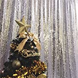 "TRLYC 96""*96"" Shimmer Ceremony Background 8Ft*8Ft Silver Sequin Party Wedding Photo Booth Backdrop Thanks Giving Day and Christmas"
