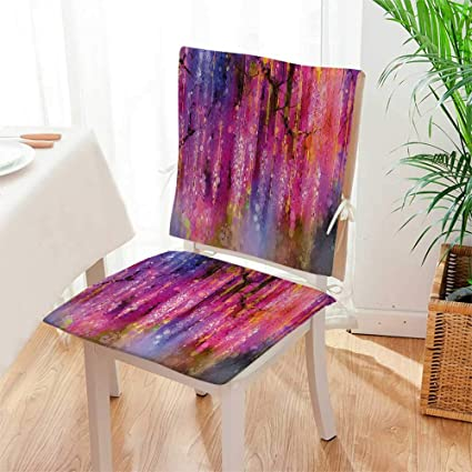 Mikihome 2 Piece Set Chair Pad Blossom Cluster Background Like Neon  Pollination Growth Paint Pink Purple