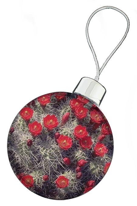 Red Flower Cactus Christmas Bauble Decoration, Ref:FL-2CB