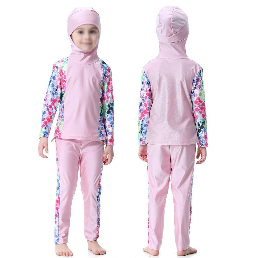 BESTOYARD Maillot de Bain pour Filles Arabes Musulmanes Couture à Manches Longues Maillots de Bain divisés Classiques pour Filles et Adolescents