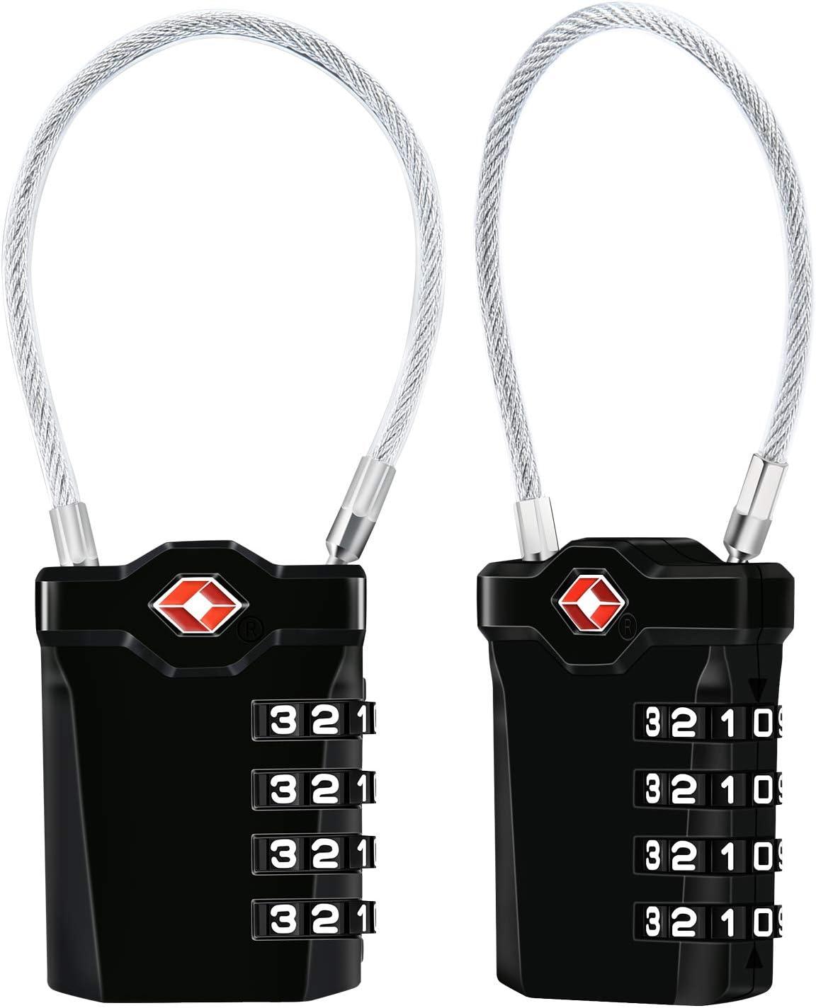 TSA Equipaje Locks, [VersióN MáS Nueva] [Paquete De 2] Diyife Candado De Seguridad Diyife De 4 DíGitos, Candados De CombinacióN, Bloqueo De CóDigo Para Maletas De Viaje, Mochila De Equipaje(Negro)