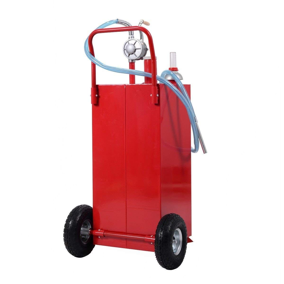 Goplus 30 Gallon Gas Caddy, Fuel Diesel Storage Tank, Rugged Durable Material, Anti-Static Ground Clamp, Labor-Saving Hand Operated Defueling Pump, 8 Feet Discharge Hose Red Caddy (Red) by Goplus (Image #4)