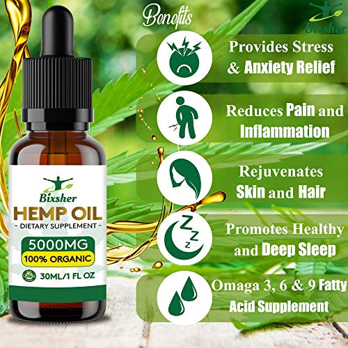 61wUxyemNUL - Premium Hemp Oil Drops 5000 mg | Pure Organic | Natural Sleep Aid | for Pain Relief, Anxiety and Stress | Vegan Friendly | 100% Natural Ingredients Rich in Omega 3-6-9 & Vitamins | Gluten Free