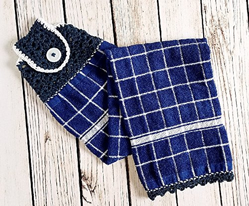 Blue and White Contemporary Windowpane Hanging Towel for kitchen or bath. Indigo cotton and white 100% cotton yarn. Button closure. Unique back construction for improved draping.
