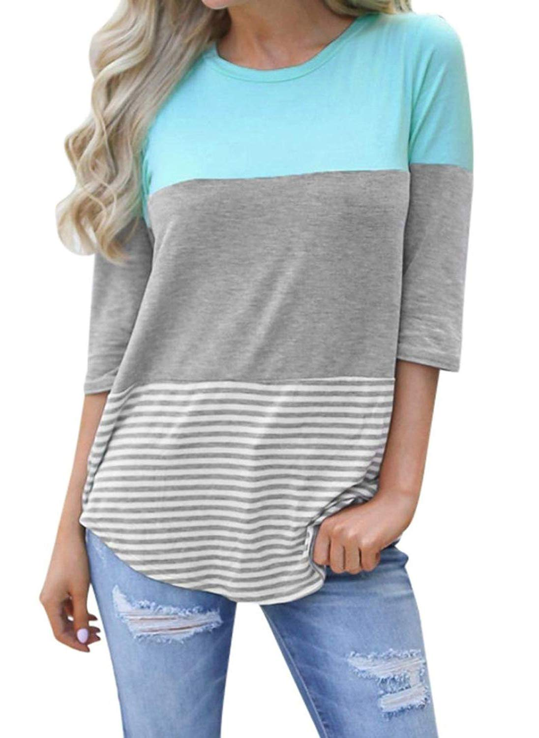 Striped Tops for Women 3/4 Sleeve Casual Loose fit T-Shirt Blouse (Green, Medium)