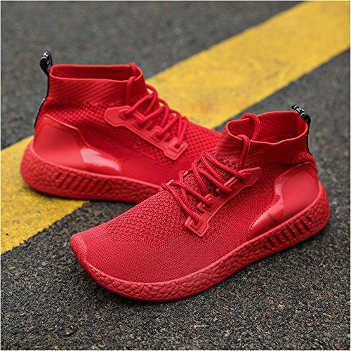 Führershow-Männer athletische helle Mode-Turnschuhe beiläufige Breathable Straßen-gehende Schuhe rot