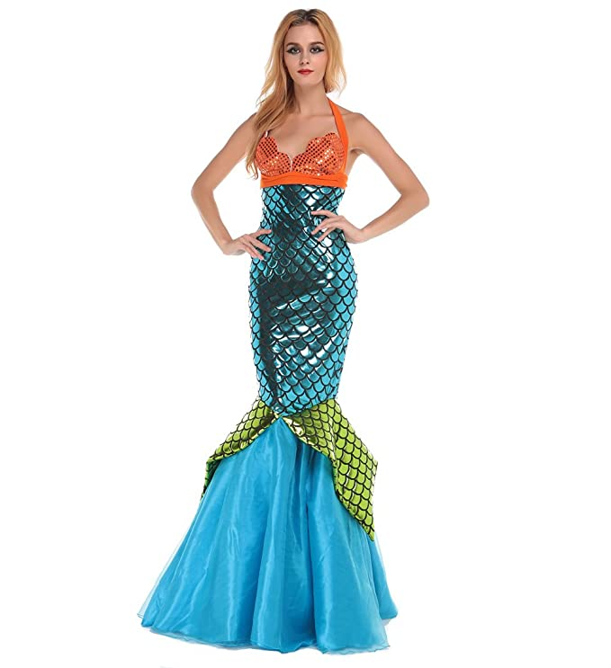 Women 2-Pc Wet Look Mermaid Halloween Costume with Orange Shell-Shaped Halter Top  sc 1 st  Deluxe Theatrical Quality Adult Costumes & Sexy Womenu0027s Mermaid Costumes