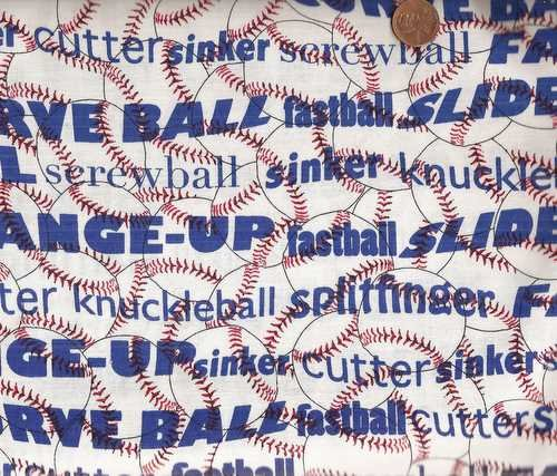- Baseballs Pitching Words Sports Timeless Treasures Fabric