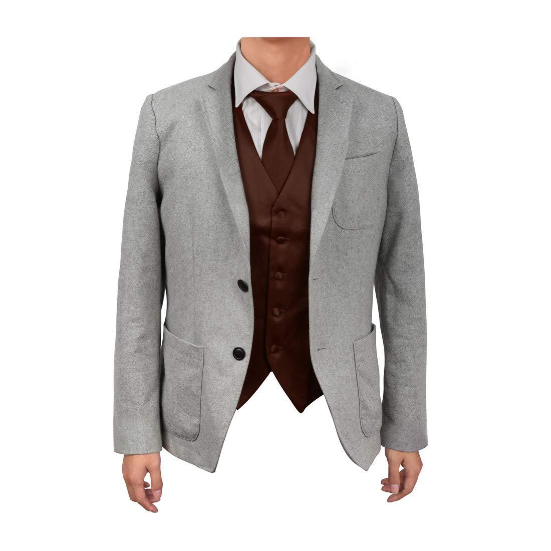 DGDE0002-M Dark Violet Gentlemen Plain Microfiber Satin For Designer Vest Matching Neck Tie By Dan Smith