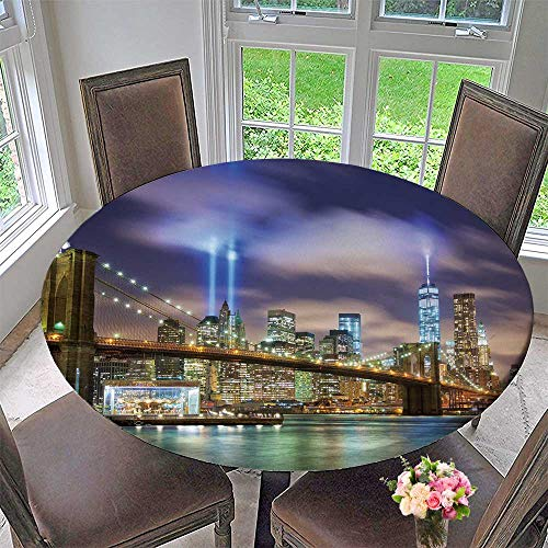 (Chateau Easy-Care Cloth Tablecloth Manhattan Skyline with Brooklyn Bridge and The Tower Lights for Home, Party, Wedding 55