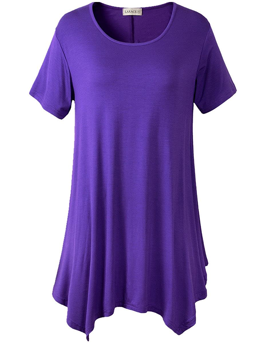 609c6a8b09b ONLY ITEMS SOLD BY LARACE BY LANMO ARE AUTHENTIC, BEWARE OF COUNTERFEIT  SELLERS Figure flattering swing style short sleeve scoop neck top with  handkerchief ...