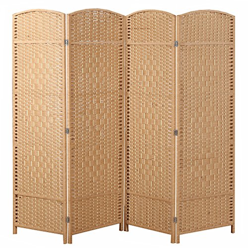 MyGift Freestanding 4 Hinged Panel Woven Beige Wood Privacy Room Divider Partition Screen (Rattan White Bed French)