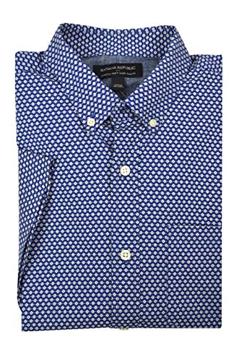 Banana Republic Mens Slim-Fit Soft Wash Short Sleeve Button Down Shirt White Blue White Floral -