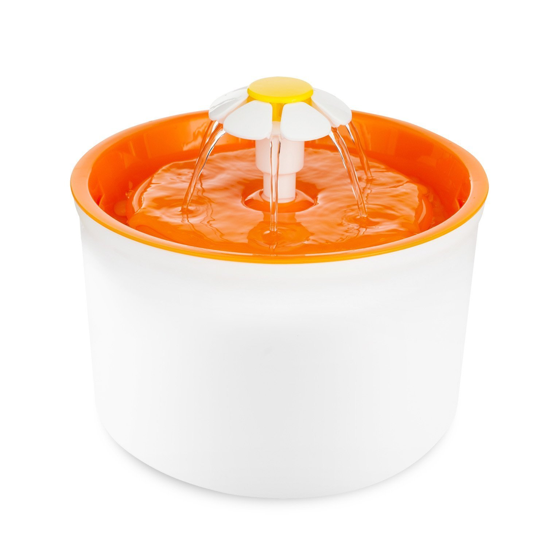 Fontaine à Fleur pour Chat Automatic Electric Flower 1.6 L Pet Water Fountain Drinking Bowl orange Eleoption