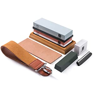Knife Sharpening Stone Kit, ASEL Professional Water Stone Set, 2 in 1 Grit 400/1000 3000/8000, Bamboo Base, Flatting Stone, Polishing Compound, Leather Honing Strop and Leather Razor Strop