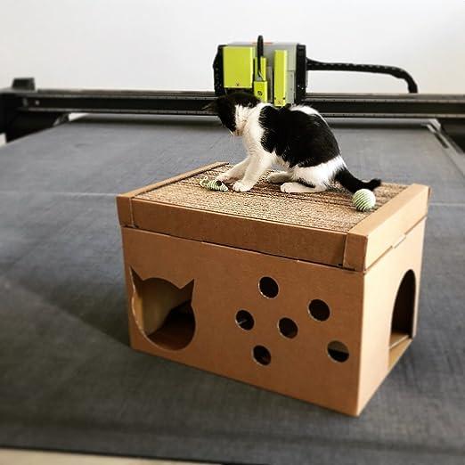 Scatolificio Crippa Caseta para Gato ecológica de Cartón con rascador para Gatos, 49 x 34 x 26 cm – Made and Designed in Italy: Amazon.es: Productos para mascotas