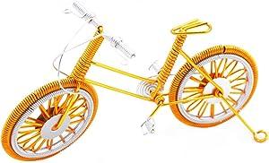 "A DECALS Bike Metal Model,7"" Bicycle Handmade Artwork Home Office Desktop Decoration Collection(Golden)"