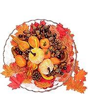 Danolt Höst thanksgiving dekorationer, 166 stycken konstgjorda höstdekorationsset, mini konstgjorda pumpor, konstgjorda ekollon tallkottar lönnblad, Thanksgiving, halloween bordsdekoration