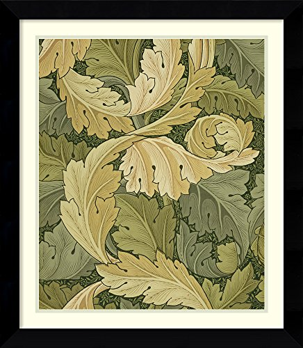Framed Wall Art Print Wallpaper Design with Acanthus/Woodland Colours, 1875 by William Morris 26.75 x 30.75