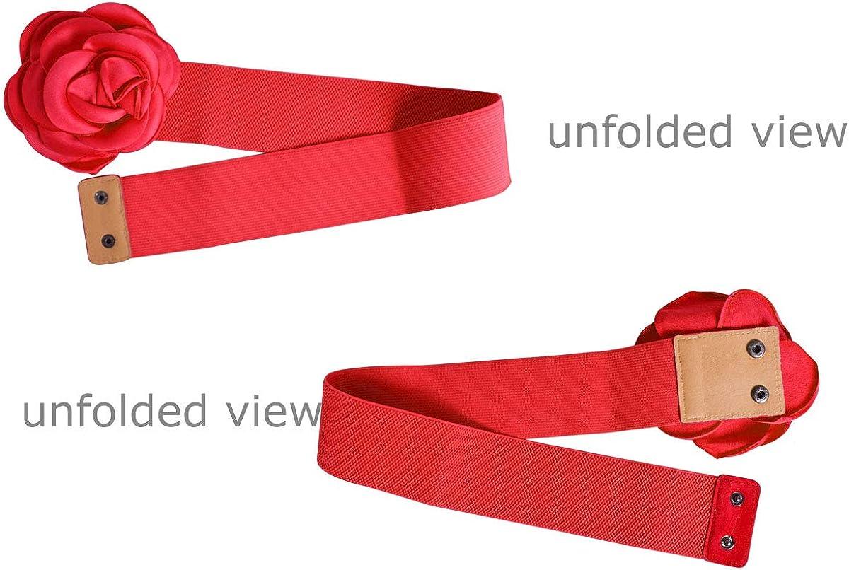 Nanxson Women Girls Decor Flower Waist Belt Wide Elastic Band PDW0075