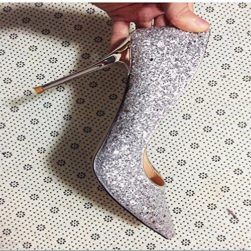 Cari tacco alto Hxvu56546 argento scarpe paillettes autunno e con coniche Primavera OW80B