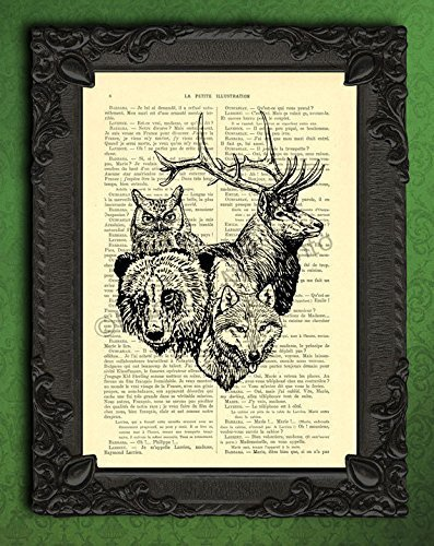 Deer owl bear wolf poster, black and white wild animals art print, woodland animal wall decor, heart shaped totem on dictionary page