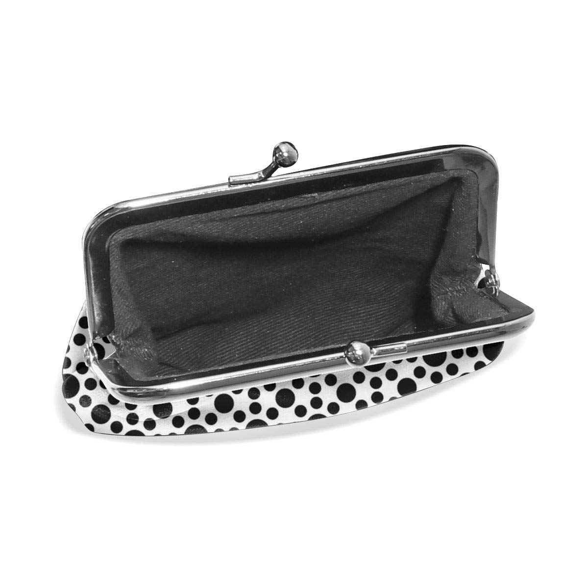 Yunshm Black And White Geometric Dots Customized Leather Classic Floral Coin Purse Clutch Pouch Wallet For Womens