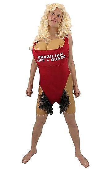 lustiges manner brazilian grosse bruste kostume mit super grossen schaumstoff brusten und schwarzen schamhaar kostume scary
