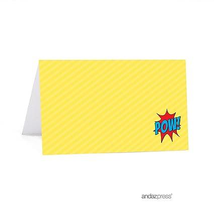 Andaz Press Birthday Printable Table Tent Place Cards Superhero Pow Bam 20 Pack