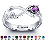 Personalized Engaved Mother Jewelry Cubic Zirconia Rings for Mom with Simulated Birthstones and Names